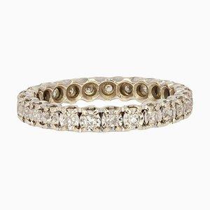 Full Turn Diamond 18 Karat White Gold Wedding Band Ring, 1950s