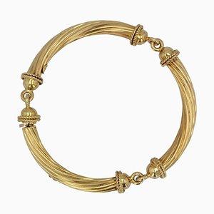 18 Karat Yellow Gold Articulated Bangle Bracelet, 1960s