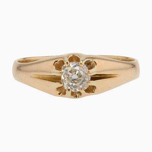 20th-Century Diamond 18 Karat Yellow Gold Ring