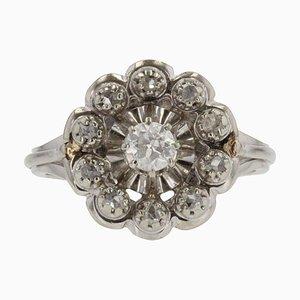 Französischer 18 Karat Ring in Weißgold mit Diamanten, 1950er