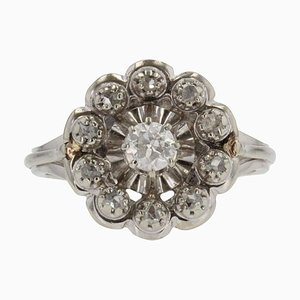 French Diamonds 18 Karat White Gold Cluster Ring, 1950s