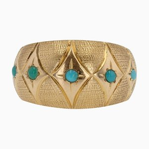 Turquoise 18 Karat Yellow Gold Domed Ring, 1960s