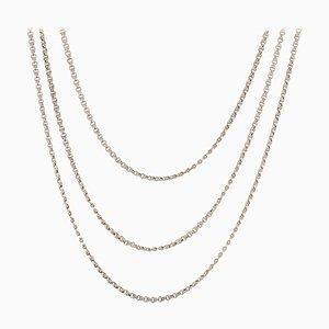 Französische Lange Silberne Halskette, 20. Jh