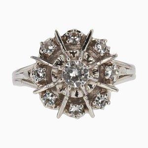 French White Sapphire 18 Karat White Gold Ring, 1960s