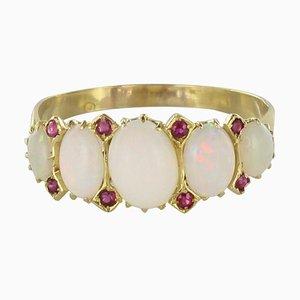 19th-Century Opal & Ruby 18 Karat Yellow Gold Garter Ring