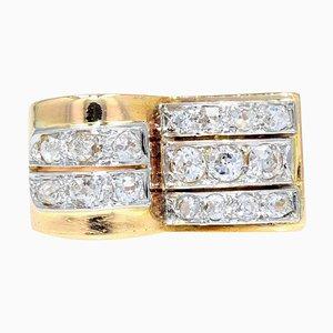 Diamond 18 Karat Yellow Gold Platinum Asymmetrical Tank Ring, 1940s