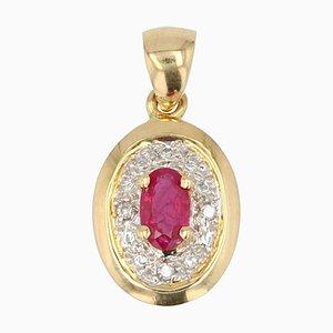 Moderne Rubin & Diamant 18 Karat Gelbgold Hängelampe