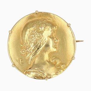 Art Nouveau French 18 Karat Yellow Gold Vernier Brooch