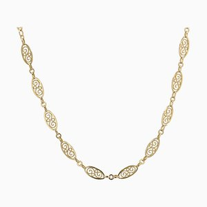 20th-Century 18 Karat Yellow Gold Filigree Chain Necklace