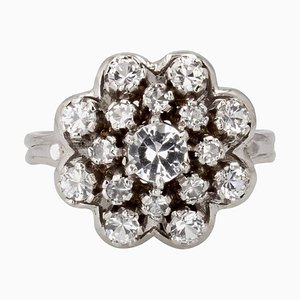 French 18 Karat White Gold White Sapphire Ring, 1960s