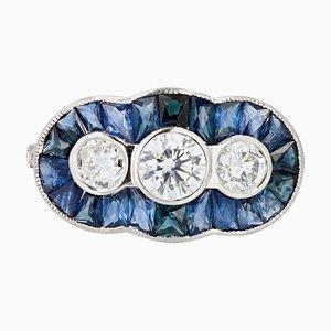 Art Deco Calibrated Sapphire & Diamond 18 Karat White Gold Ring