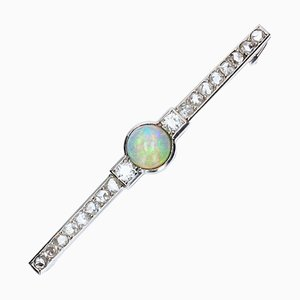 Art Deco French Opal & Diamond Platinum Brooch, 1930s