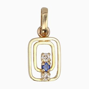 Modern Sapphire 18 Karat Yellow Gold Pendant
