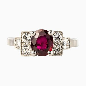 French Art Deco Style 1.47 Ruby & Diamond Platinum Ring