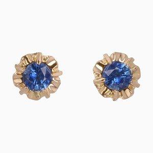 French Blue Sapphire 18 Karat Yellow Gold Stud Earrings, 1960s, Set of 2