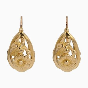 20th-Century 18 Karat Yellow Gold Floral Decoration Lever- Back Earrings, Set of 2