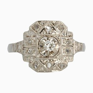 Französischer Art Deco Diamant Platin Ring, 1930er