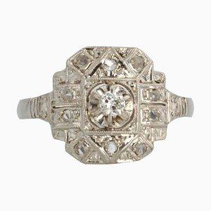 Sortija francesa Art Déco de platino y diamantes, años 30