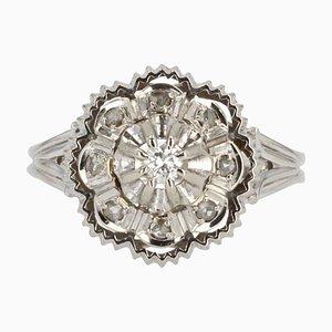 Französischer 18 Karat Ring in Weißgold mit Diamanten, 1960er
