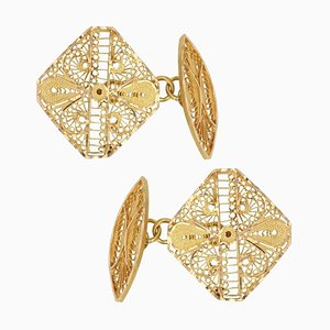 Modern 18 Karat Yellow Gold Filigree Cufflinks, Set of 2