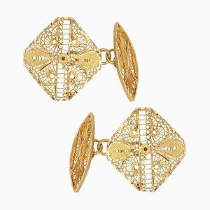 Moderne 18 Karat Goldfiligrane Manschettenknöpfe in Gelbgold, 2er Set