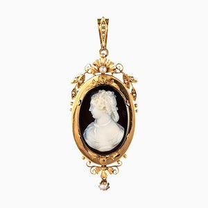 19th-Century Natural Pearls & Onyx Cameo 18 Karat Rose Gold Pendant Brooch
