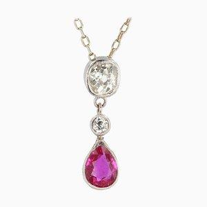 Französische 18 Karat Gold & Diamanten 18 Karat & Rubinrote Rubinromantik