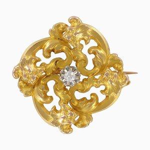 Art Nouveau French Wiese Spirit Yellow Gold Diamond Brooch
