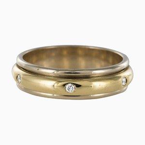 Moderner Ehering in Weiß & Gelbgold mit Diamanten