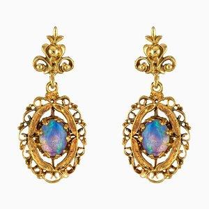 Yellow Gold Opal Dangling Earrings, 1960s, Set of 2