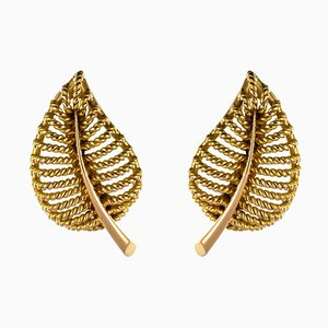 French 18 Karat Yellow Gold Leaf Shaped Clip Earrings, 1980s, Set of 2