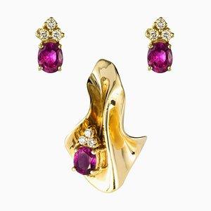 Modern Diamond & Ruby Yellow Gold Pendant and Earrings, Set of 2