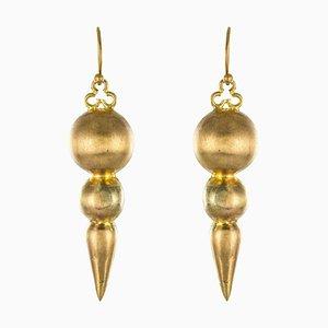 20th-Century Italian Yellow Gold Dangle Earrings, Set of 2