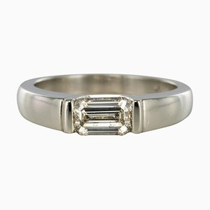 Modern 0.75 Carat Emerald-Cut Diamond Platinum Ring