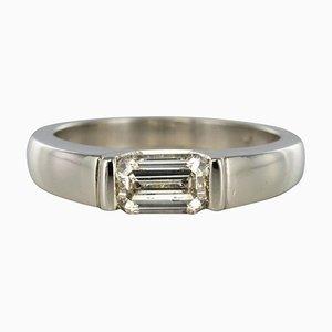 Moderner 0,75 Karat Smaragdschliff Platin Ring aus Platin
