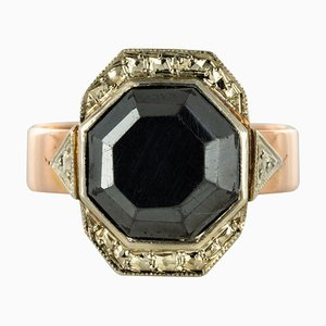 19th-Century French Napoleon 3 Rose Gold Hematite Ring