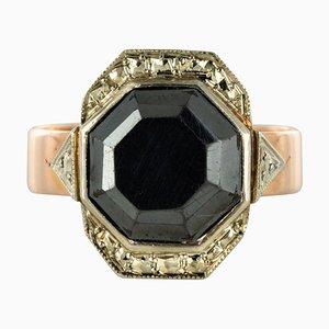 Französischer Napoleon 3 Roségold Hämatit Ring aus 19. Jhdt