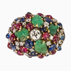 French Ruby & Sapphire Engraved Emerald Diamond Gold Ring, 1960s
