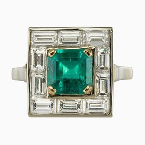 Art Deco Style Colombian Emerald and Baguette Diamond Ring