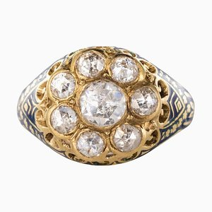 1.06 Carat Rose Cut Diamond and Enamel Ring