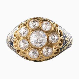 Ring aus 1,06 Karat Rosé geschliffenem Diamant und Emaille