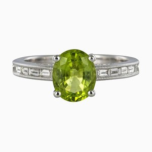 Peridot & Diamond 18 Karat White Gold Ring