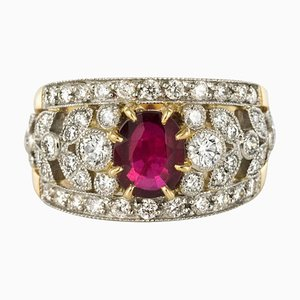 French Diamond & Ruby Gold Platinum Band Ring