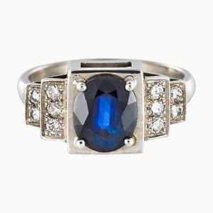Art Deco Style Sapphire & Diamond 18 Karat White Gold Ring