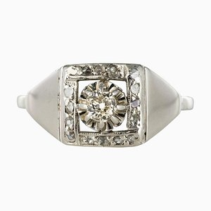 Art Deco White Gold Platinum Diamond Ring, 1930s
