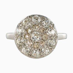 Belle Époque Diamond 18 Karat White Gold Flat Round Ring, 1920s