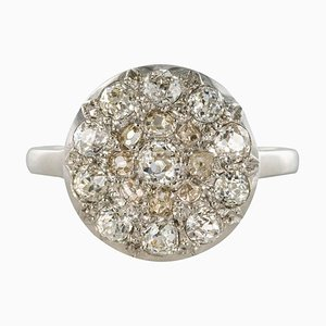 Runder Runder 18 Karat Ring in Weißgold aus Belle Époque, 1920er