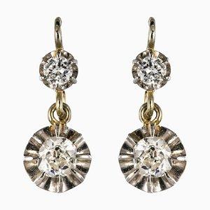 Pendientes Art Déco con diamante de aluminio en forma de lumbra de 18 quilates, años 30. Juego de 2