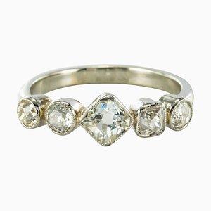 Belle Epoque Diamant Platin und Weißgold Band Ring, 1900er