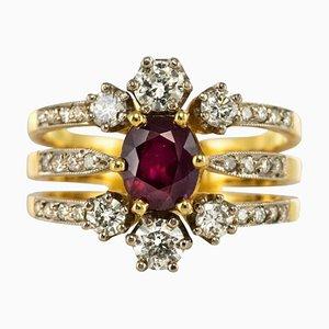 Anillo francés de tres bandas de oro rubí y diamantes